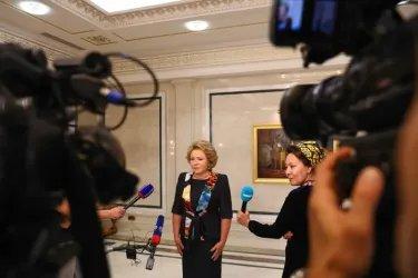 Пресс-подход по итогам встречи  с Председателем Меджлиса Туркменистана Акджой Нурбердыевой