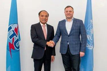 Встреча Дмитрия Кобицкого с Генеральным секретарем Международного союза электросвязи Хоулинем Чжао