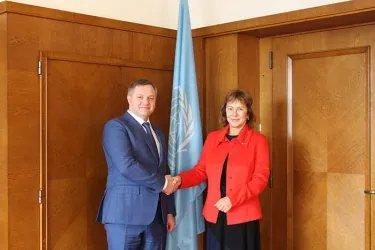 Встреча Дмитрия Кобицкого с заместителем Генерального секретаря ООН, Исполнительным секретарем Европейской экономической комиссии ООН Ольгой Алгаеровой