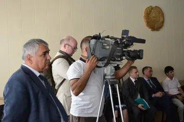 Встреча наблюдатели от МПА СНГ с Председателем ЦИК Бахтиёром Худоёрзодой