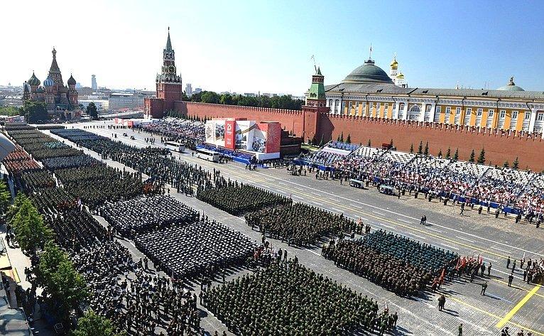Председатель Совета МПА СНГ Валентина Матвиенко присутствовала навоенном параде вознаменование 75-летия Победы