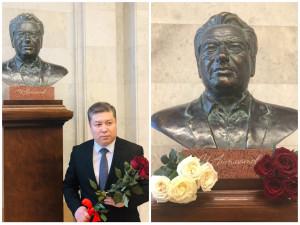 Представители Секретариата Совета МПА СНГ и кыргызской диаспоры в Петербурге возложили цветы к бюсту Чингиза Айтматова