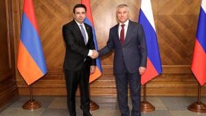 Вячеслав Володин и Ален Симонян: Необходимо продолжить выработку общей позиции двух стран на международных площадках