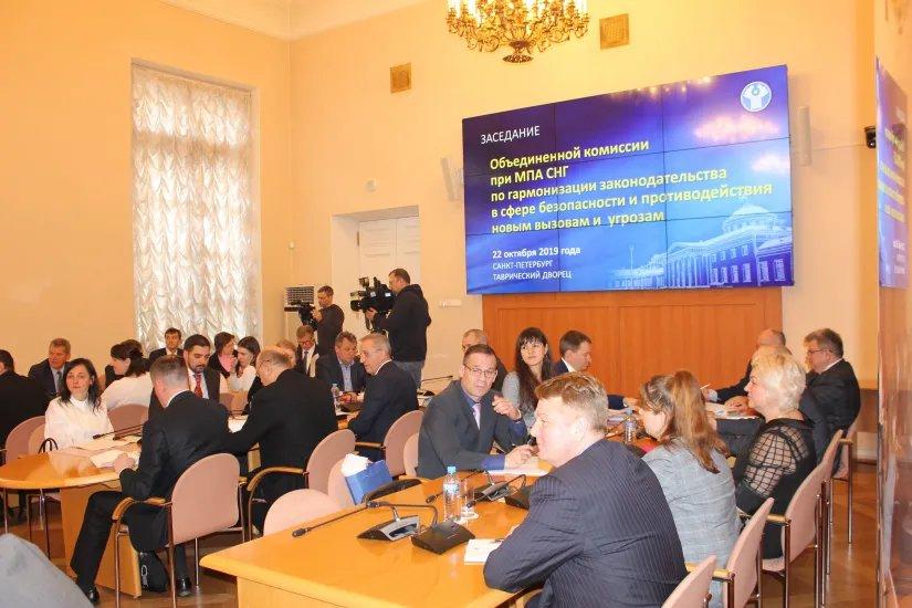 В Таврическом дворце прошло заседание Объединенной комиссии при МПА СНГ по гармонизации законодательства в сфере безопасности и противодействия новым вызовам и угрозам