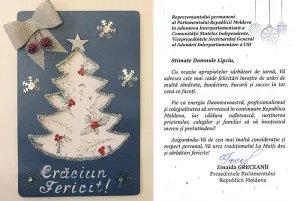 В адрес Секретариата Совета МПА СНГ поступило предновогоднее поздравление от Председателя Парламента Республики Молдова Зинаиды Гречаный
